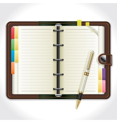 Personal organizer with pen vector