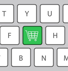 Keyboard with shopping cart vector