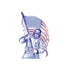 American soldier carrying flag vector