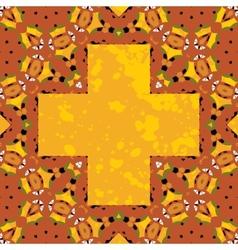Ornate orient stylized mandala in the shape cross vector