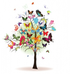 Tree with butterfly vector