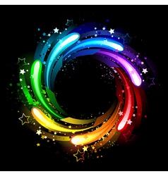Round rainbow banner vector