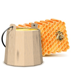 Barrel with honeycombs vector