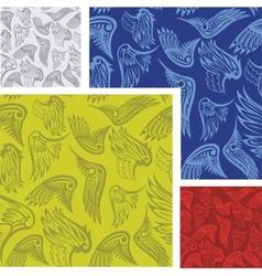 Wings - seamless pattern set vector