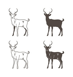 Abstract four deer silhouette vector