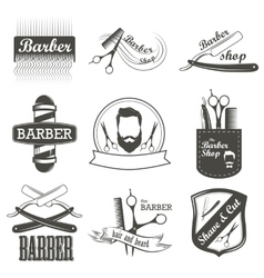 Set of vintage barber shop logo labels badges vector