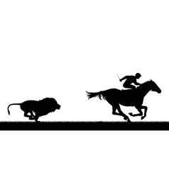 Lion chasing racing horse vector