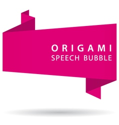 Pink origami speech bubble vector