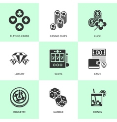 Set of white casino icons vector