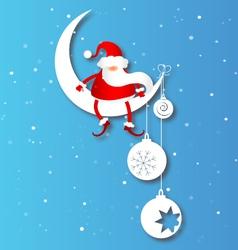 Santa on the moon vector
