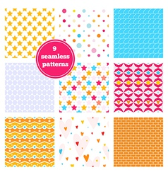 Set of nine rainbow seamless patterns vector