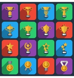 Winner trophy and award icons in flat style vector