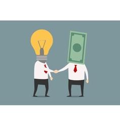 Handshake of businessmen with idea and money vector