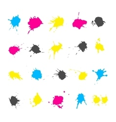 Cmyk ink splashes elements collections vector