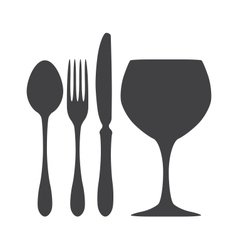 Cutlery spoon knife fork glass vector