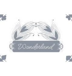 Alice advetures in wonderland grey card pattern vector