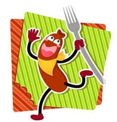 Cartoon sausage vector