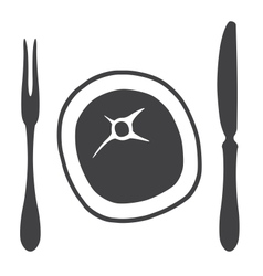 Cutlery knife fork steak - vector