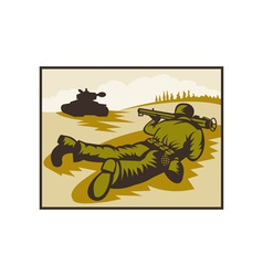 World two soldier aiming bazooka at battle tank vector