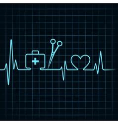 Heartbeat make a first aid boxscissor and heart vector