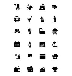 Travel solid icons 6 vector
