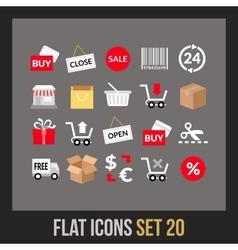 Flat icons set 20 vector