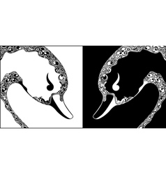Ornamental swan black and white heads vector