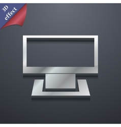 Computer widescreen icon symbol 3d style trendy vector