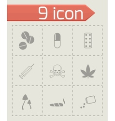 Black drugs icon set vector