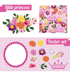 Set of pink floral elements with crown collect vector