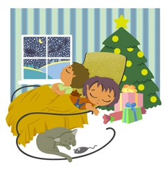 Children sleeping vector