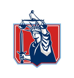 Statue of liberty wielding sword scales justice vector