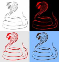 Snake cobra set vector