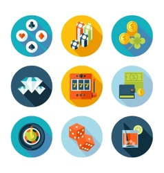 Set of flat casino icons vector