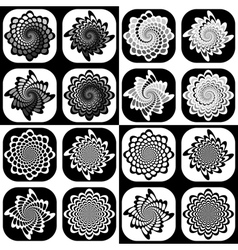 Set of monochrome decorative geometric icons vector