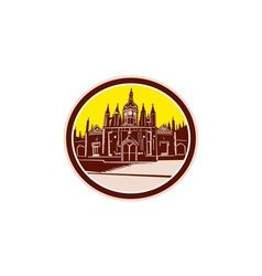 Kings college cambridge building retro vector
