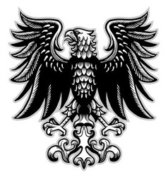 Eagle heraldry in classic pen style vector