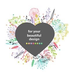 Beautiful color grass silhouette vector