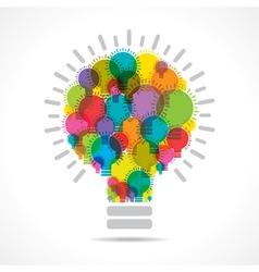 Colorful light bulbs form a big bulb vector