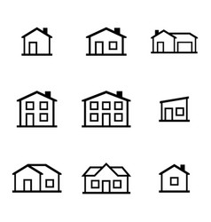 Black houses icons set vector