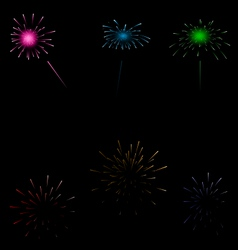 Set colorful fireworks on dark background vector