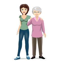 Elderly woman with adult daughter vector