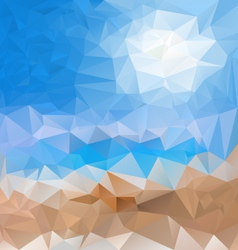 Sea beach blue sky polygonal triangular pattern vector