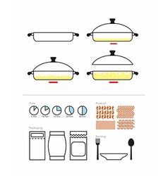 Cooking instruction in roasting pan set to manual vector