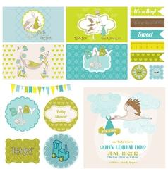 Baby shower stork theme set vector