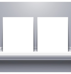 White blank tablet on shelf vector