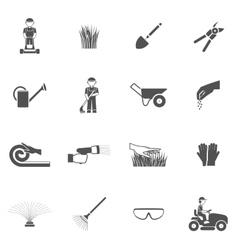Lawn man icon set vector