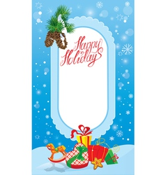 Christmas and new year card with frame fir tree br vector
