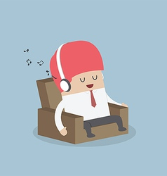 Businessman relaxing on sofa and listening to his vector
