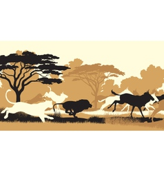 Lions hunting wildebeest vector